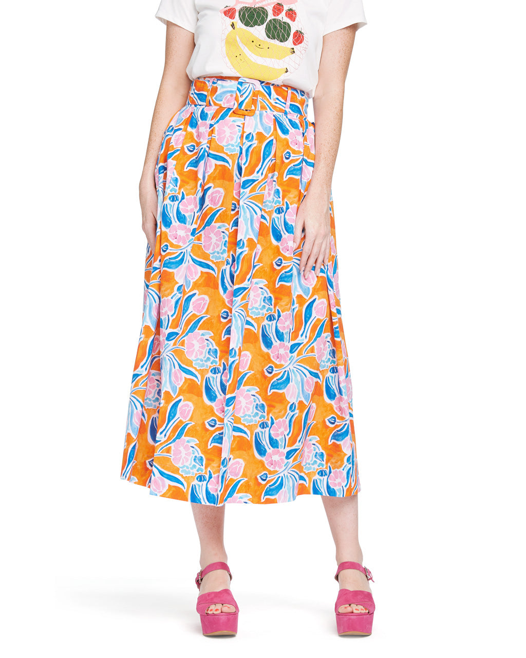 This Vinita Skirt comes in an abstract orange and blue pattern designed by Sisters Gulassa.