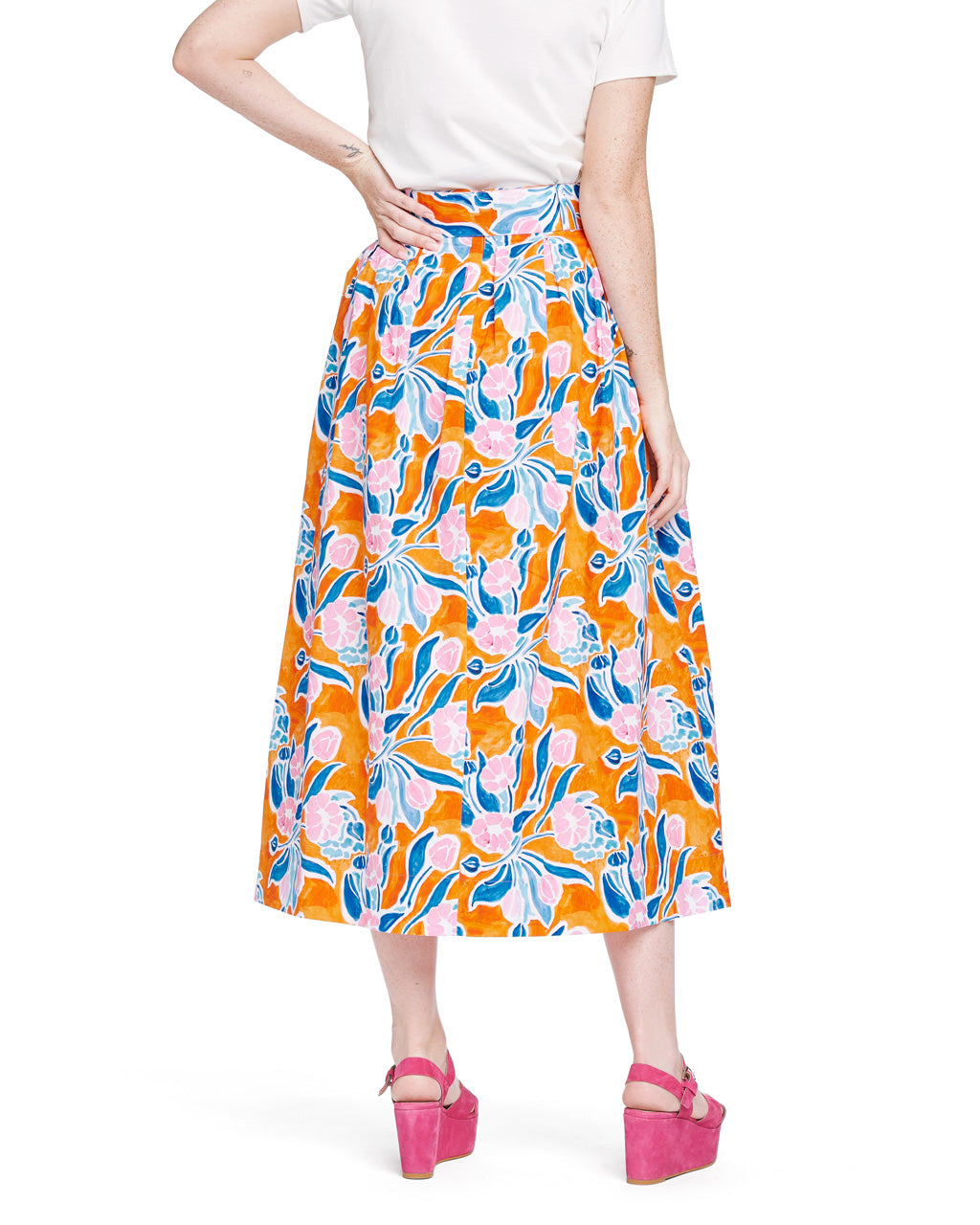 Vinita Pleated Full Skirt - Orange Floral