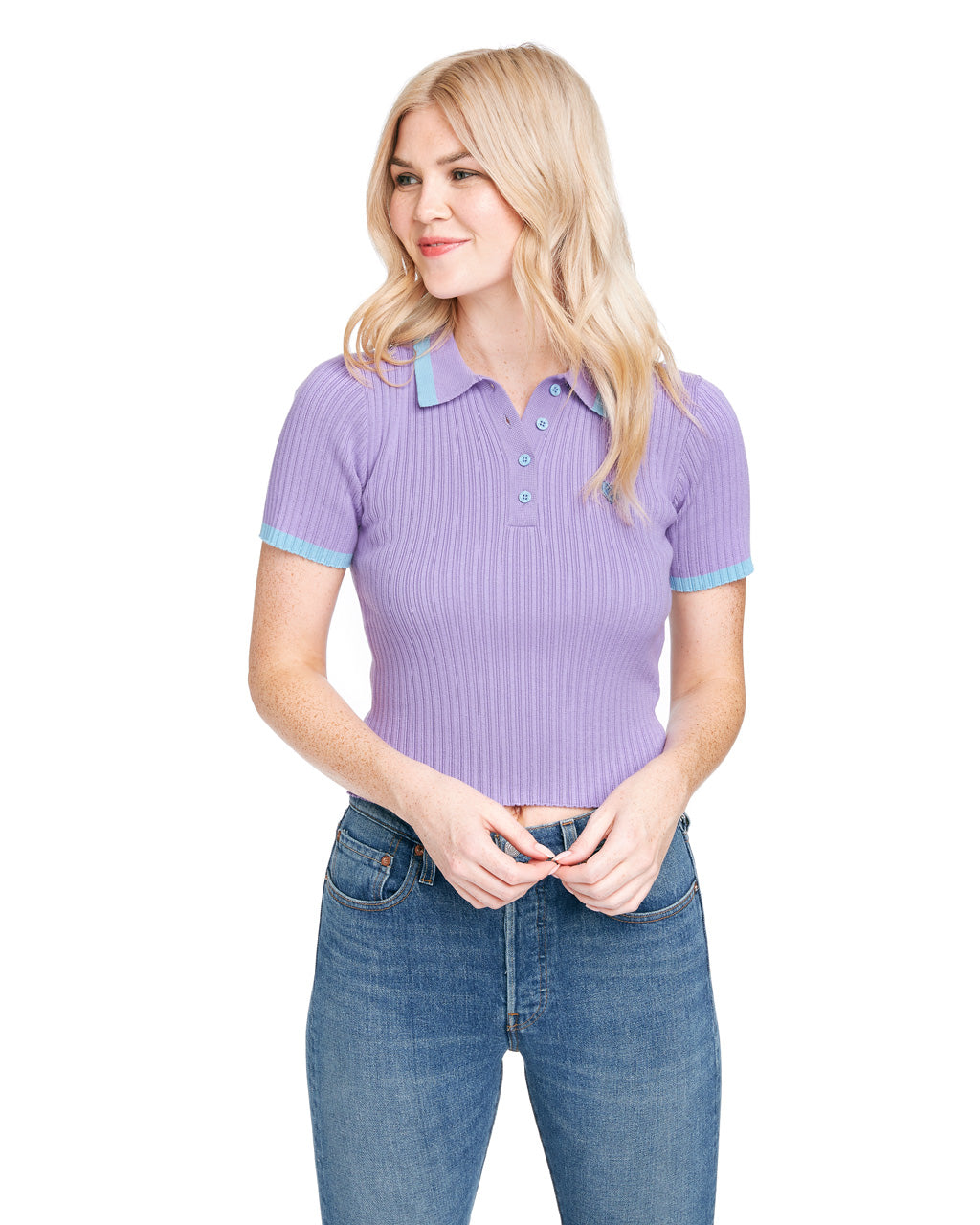 Purple knit with blue trim and embroidered heart logo.