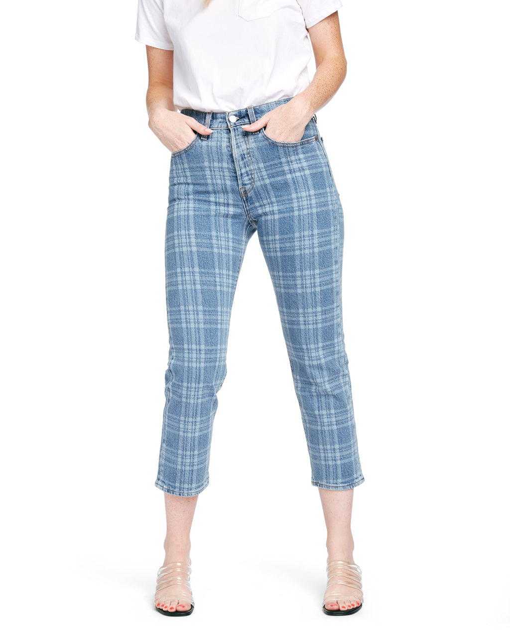 Vintage inspired Levi's jeans with a plaid pattern.
