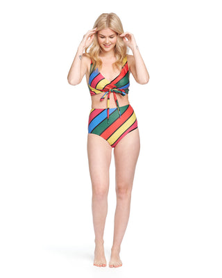 Front shot of blonde woman in multi-colored striped wrap bikini top and high-waisted bikini bottoms.