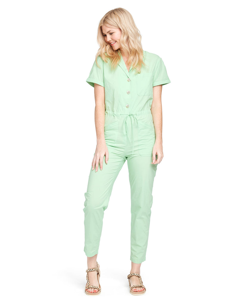 The Matthew Utility Jumpsuit by Rachel Antonoff comes in a muted lime green color.