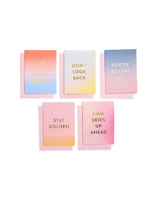 5 cards with envelopes, with gradiant backgrounds and encouraging phrases in gold foil