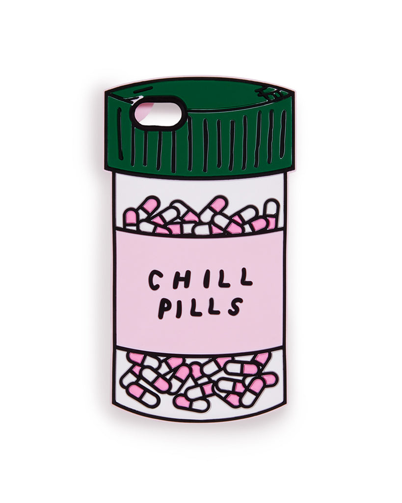 This iPhone case comes in a colorful design that looks like a bottle of pills labeled 'Chill Pills'.