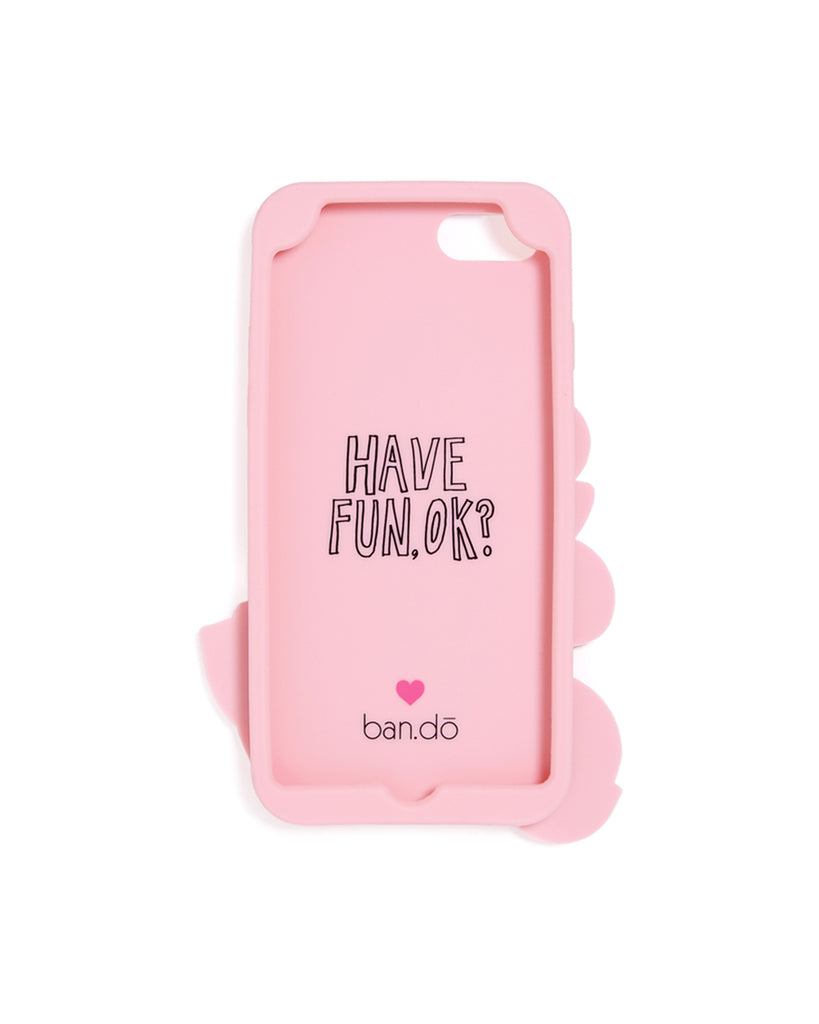 "pink interior of silicone iphone case with the ban.do logo and ""Have Fun, OK?"" in black outline letters"