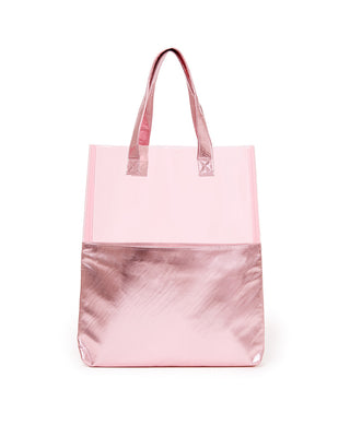 Pink tote, with a metallic pink bottom and clear pink top half