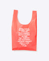 pink baggu bag with white text