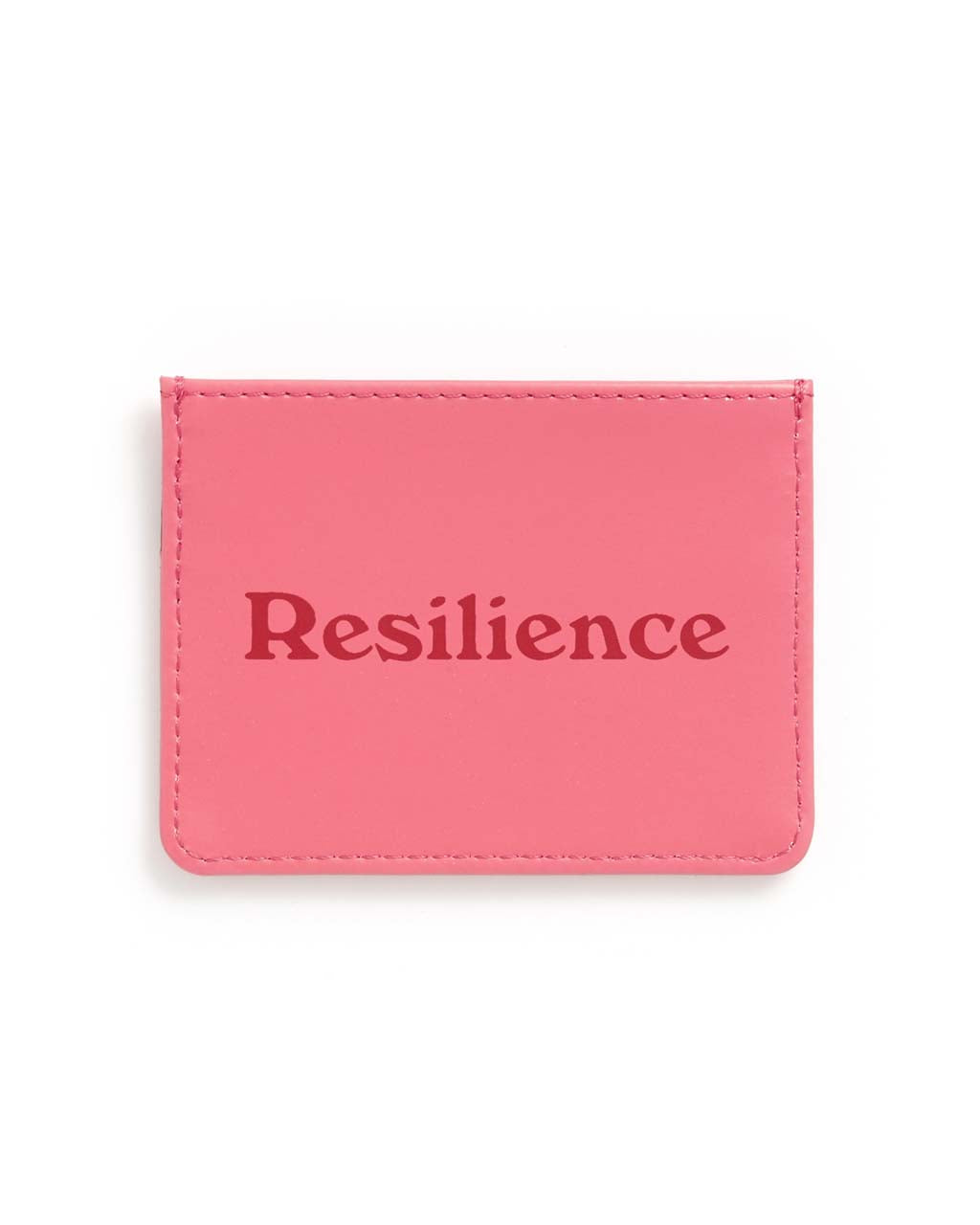 This Get It Together Card Case comes in pink, with 'Resilience' printed in red on the front.