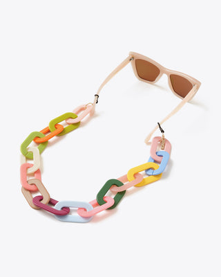 multicolored mask & sunglass chain shown with sunglasses
