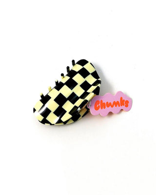 black and off white checkered hair clip