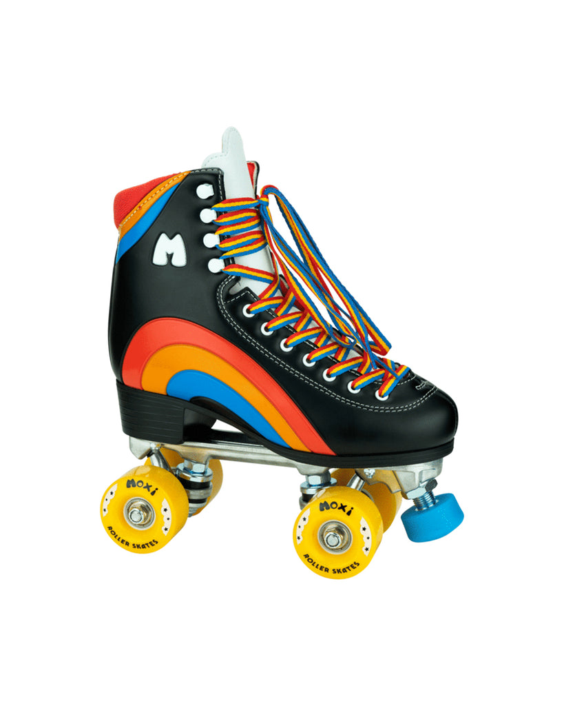 black rainbow roller skates with yellow wheels