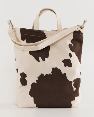 brown cow print duck bag