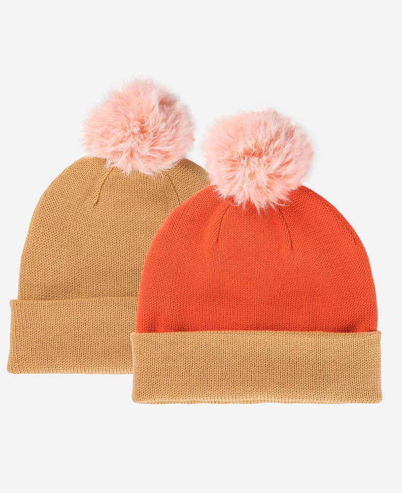 camel and rust colored reversible pom hat