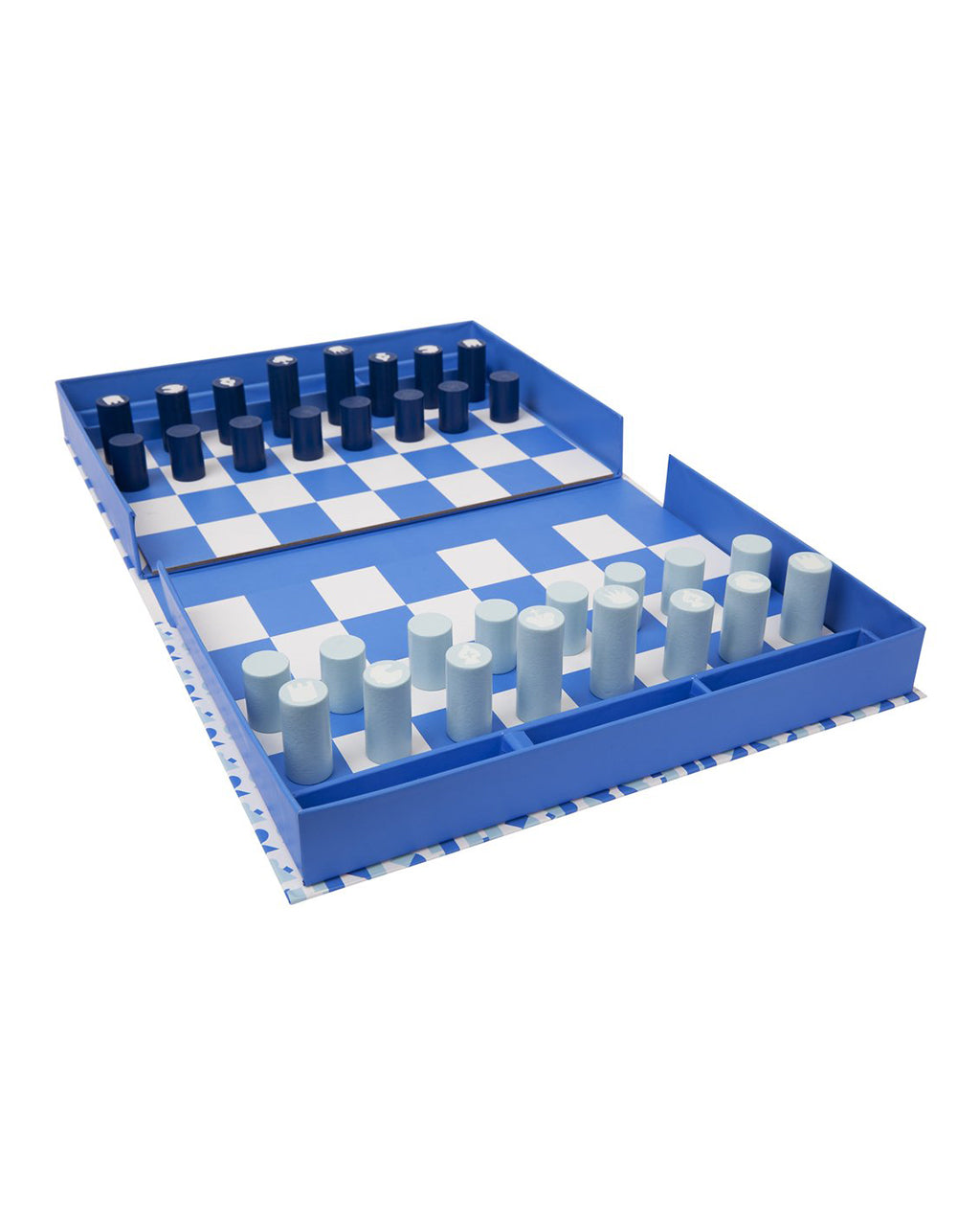 white and blue chess and checkers board game