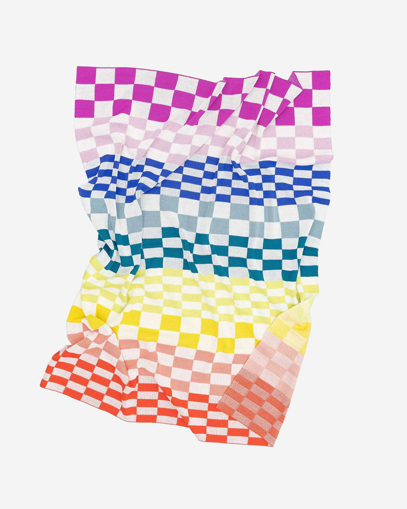 multi color checkered throw