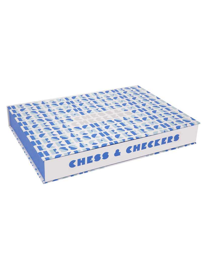 blue and white chess and checkers