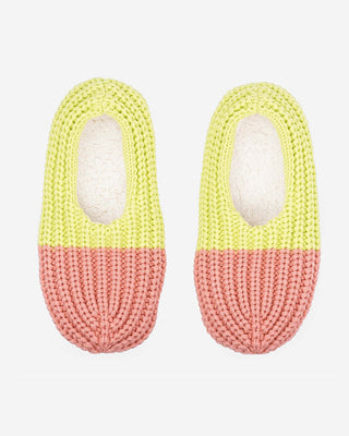 lime and pink knit colorblock slippers