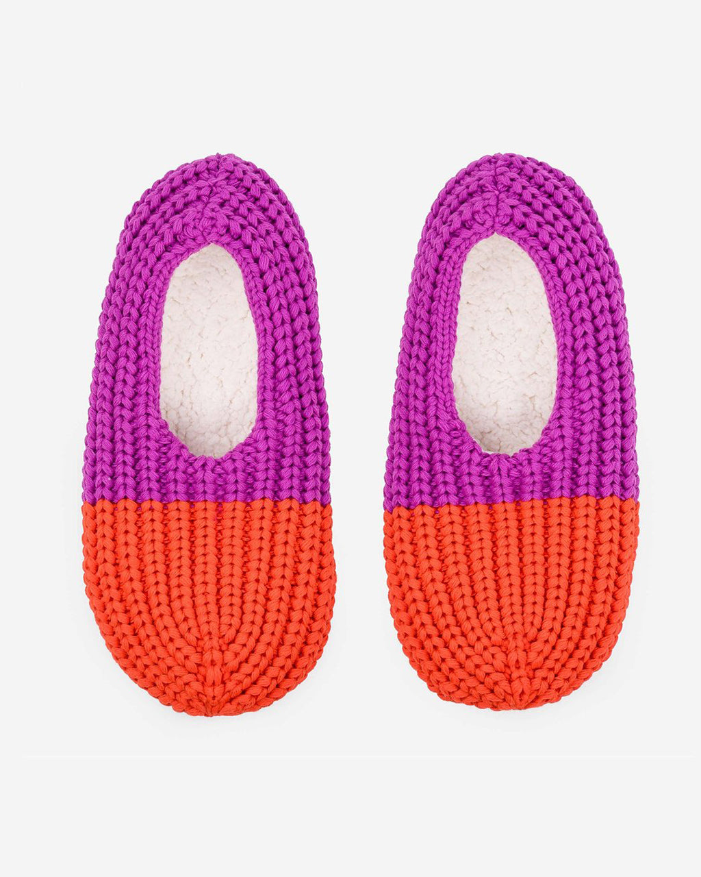 poppy and magenta colorblock knit slippers