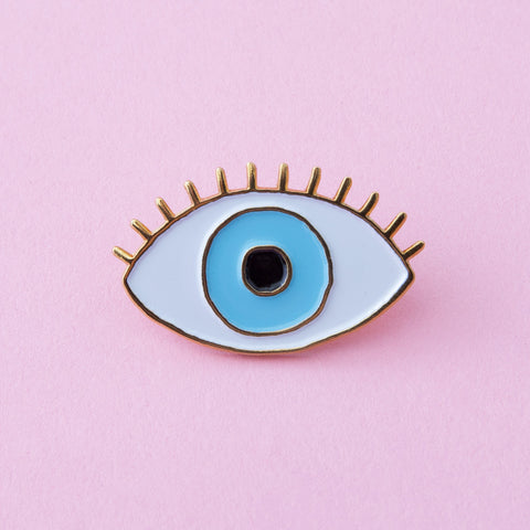 lucky blue eye enamel pin