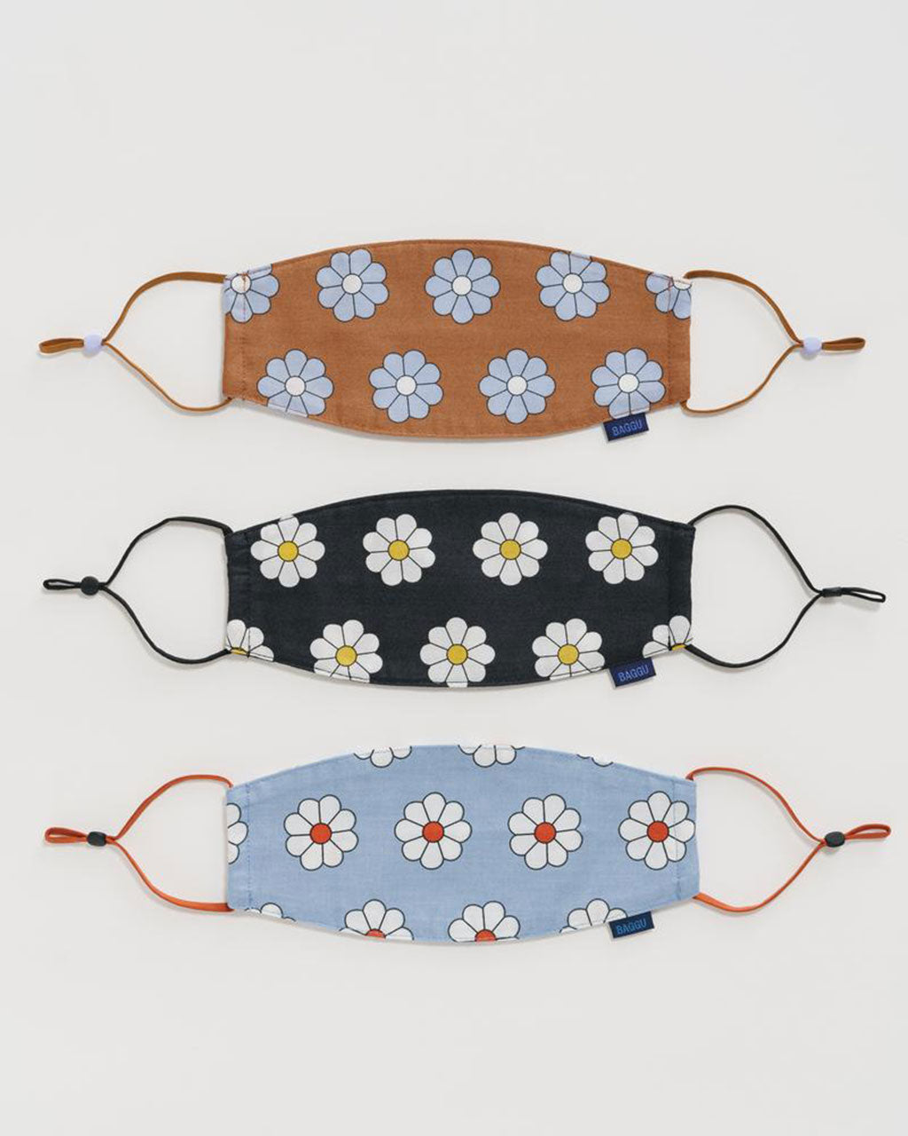 set of 3 daisy printed loop face masks