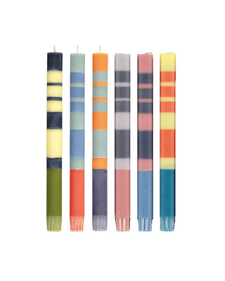 eco stripe candles set of 6