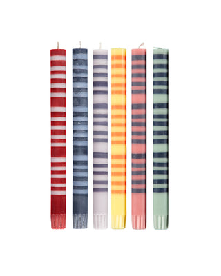 multi thin stripe candles set of 6