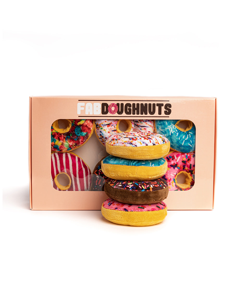 box of 6 dog toy doughnuts