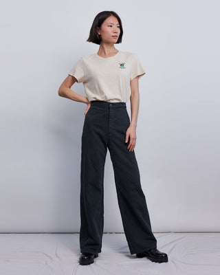 black wash wide leg jeans with a high waist shown on model