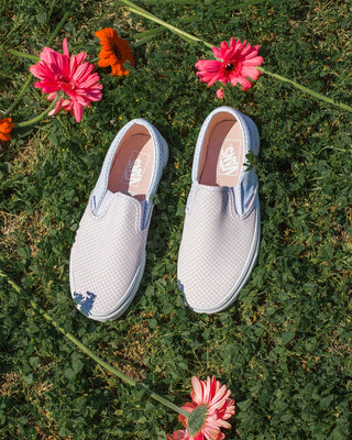classic slip ons with a dainty checker print in silver peony and misty blue