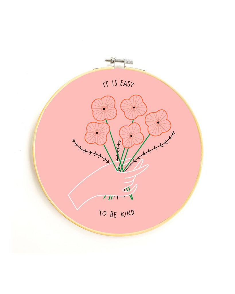 pink easy to be kind embroidery kit