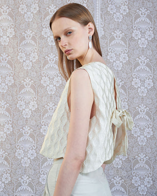 model shown wearing expectations tie back top in off white