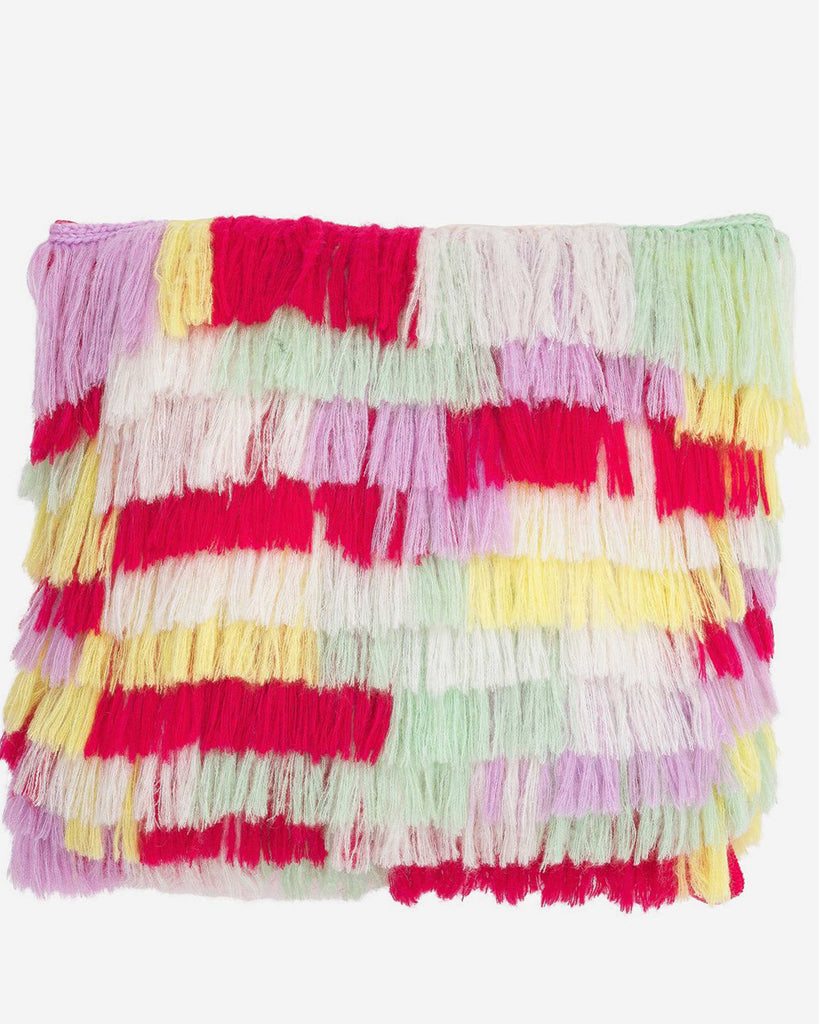 bright colored fringe patchwork pillow cover