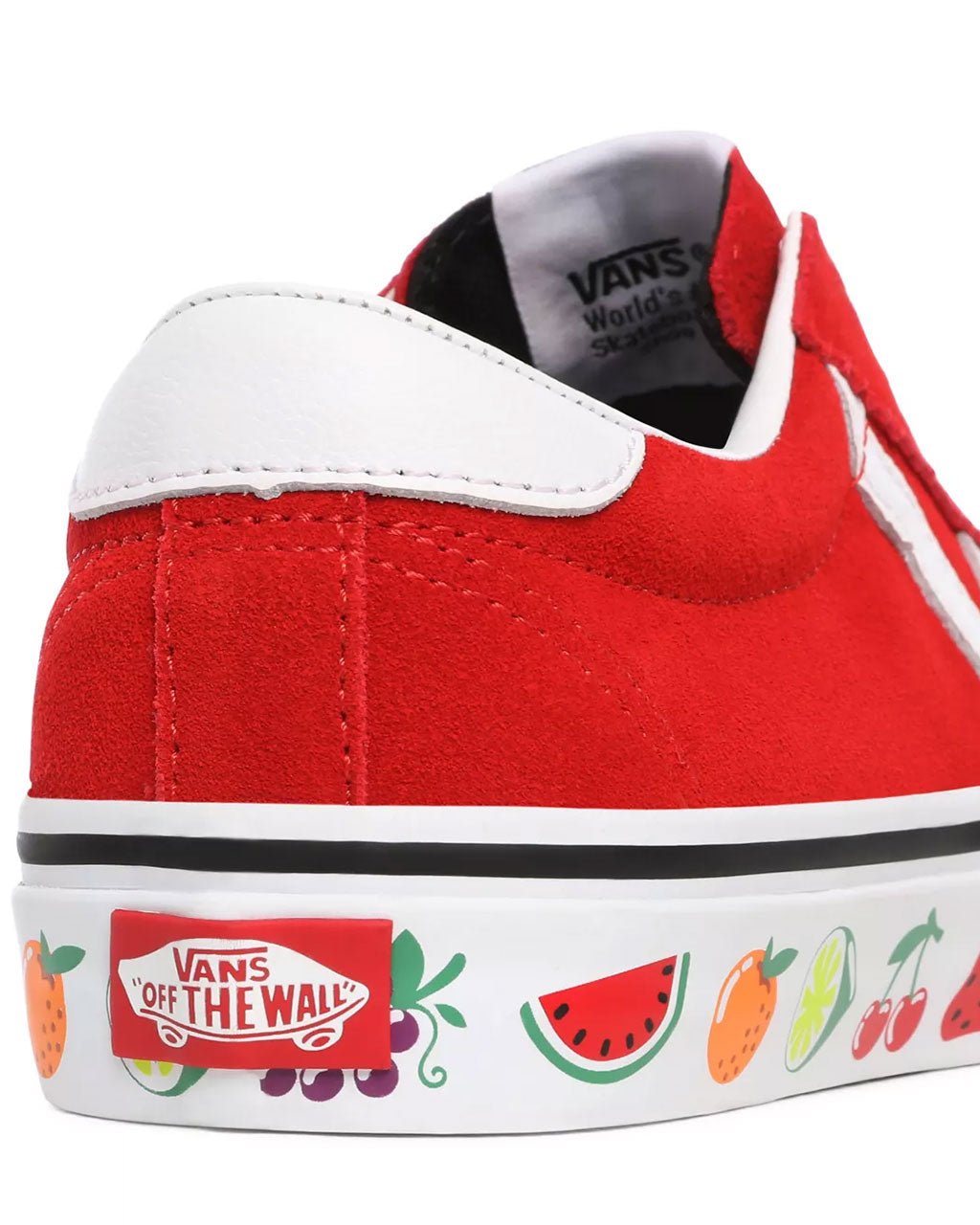 detailed view of red vans sport with a fruit design on sidewall
