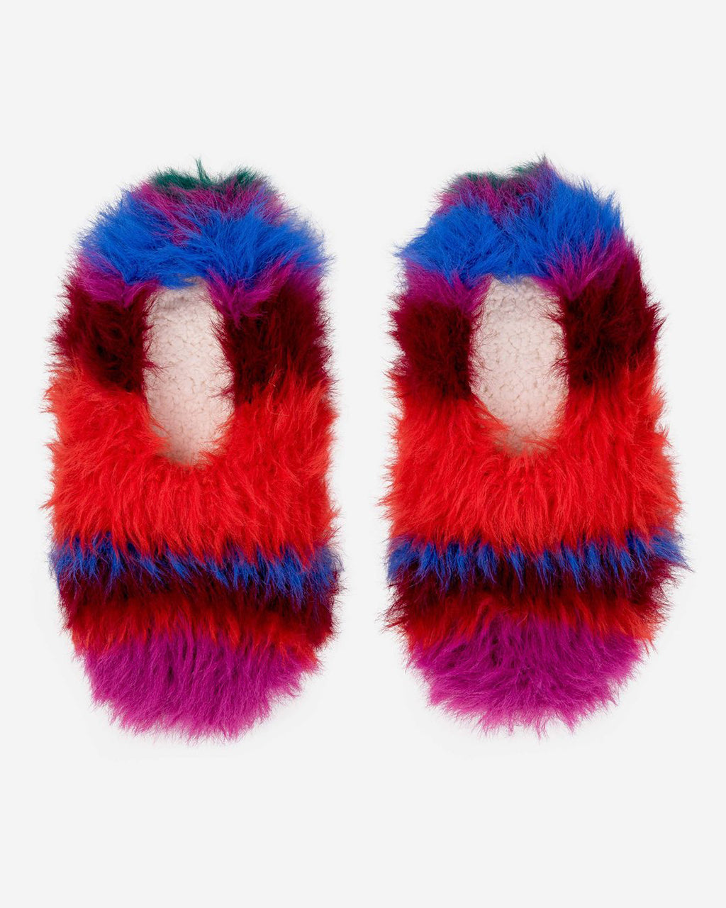magenta and cobalt fur slippers