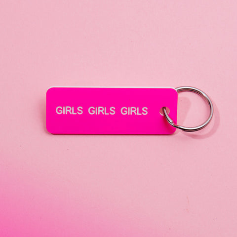 hot pink girls girls girls keychain