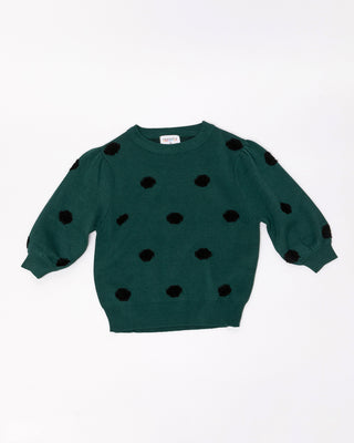 flat lay of green short sleeve sweater with black polka dots