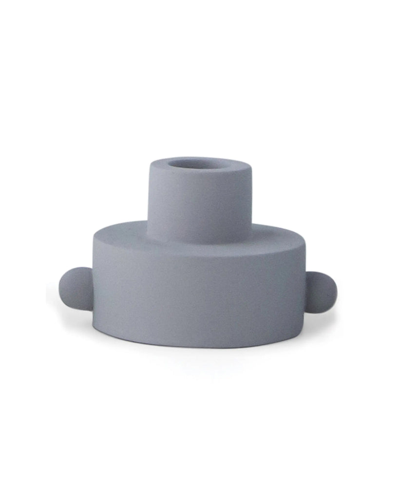 grey taper candle holder