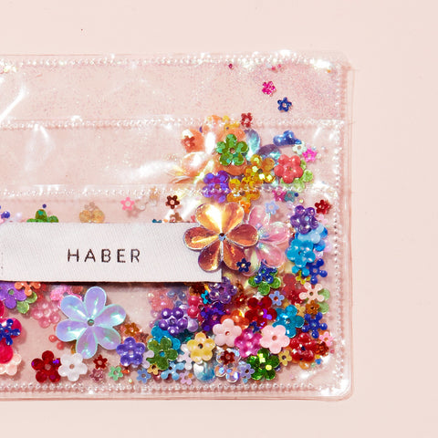 sparkle card holder - clear with sequins - by haber