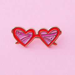 red and hot pink enamel pin with polished brass