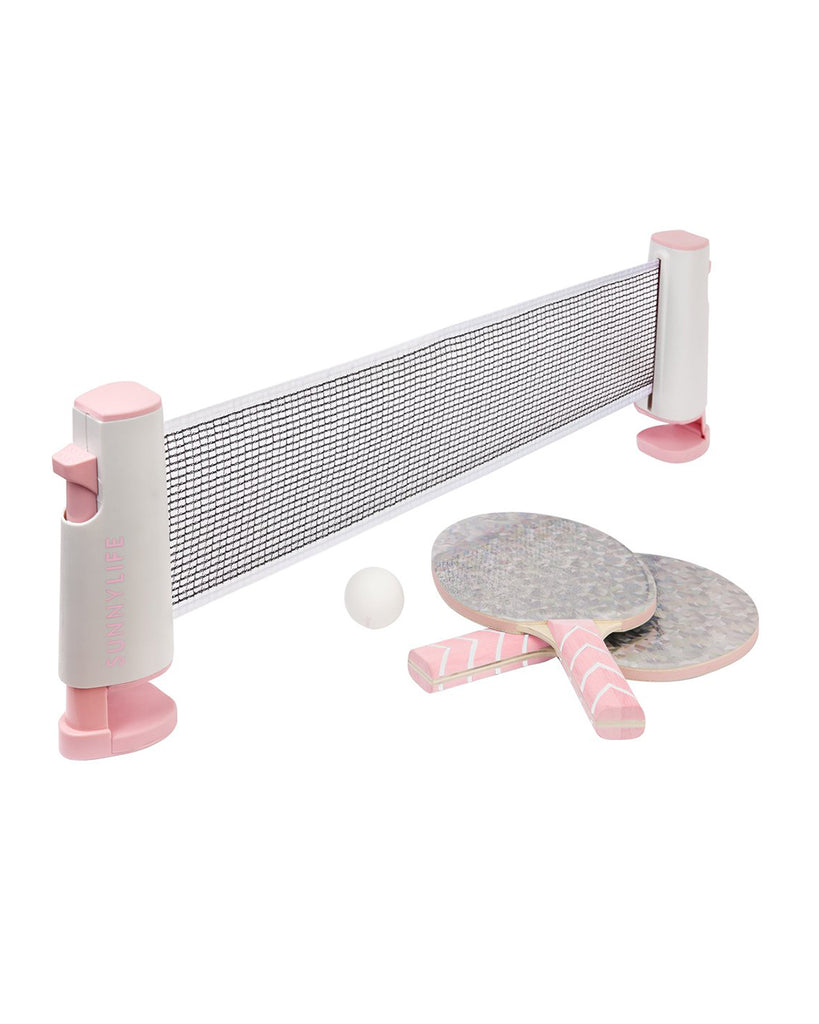 pink holographic table tennis net and paddles