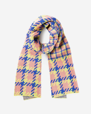 light pink and blue houndstooth scarf