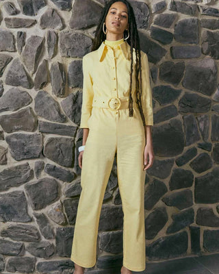 light yellow coverall shown on model