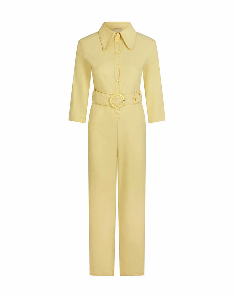 flat lay of light yellow coverall