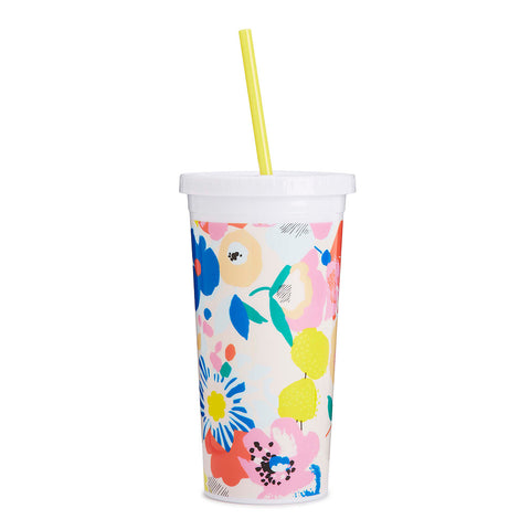 sip sip tumbler with yellow straw - floral mega blooms