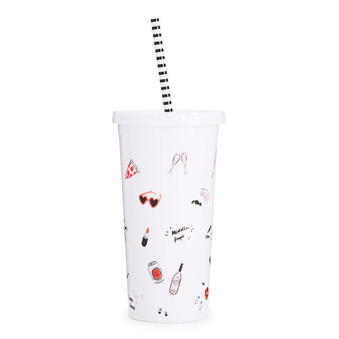 sip sip tumbler with striped straw - girls just wanna have fun