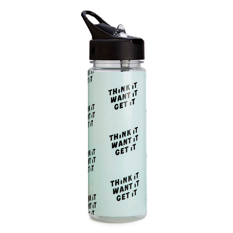 mint green blue water bottle - think it want it get it - open
