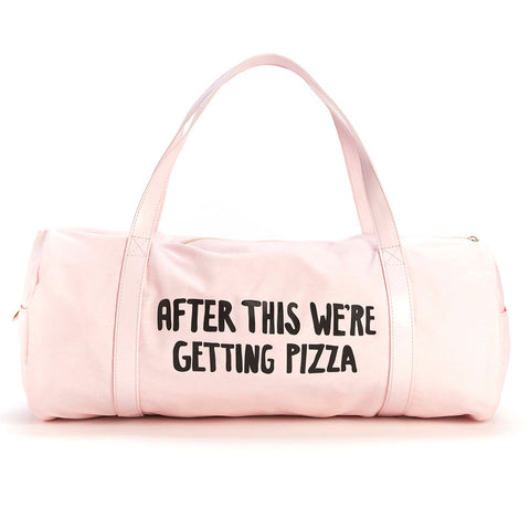 blush pink work it out gym bag - after this we're getting pizza