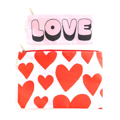 set of nylon organizer bags with red hearts and pink love lettering