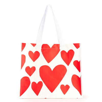 reusable shopping tote bag - red supercute hearts