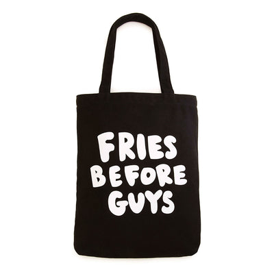 black canvas tote bag - fries before guys